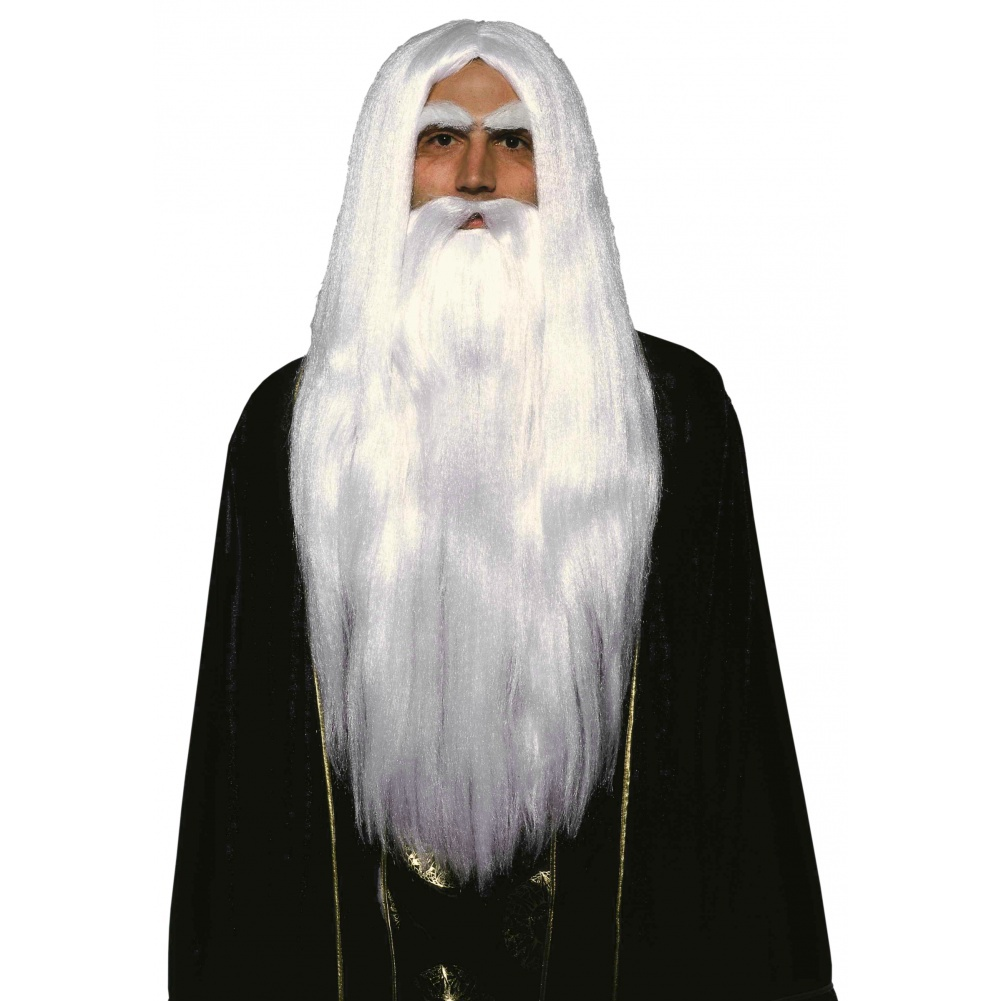 Merlin Wig and Beard Set White Gandalf Saruman Fancy Dress Costume ...
