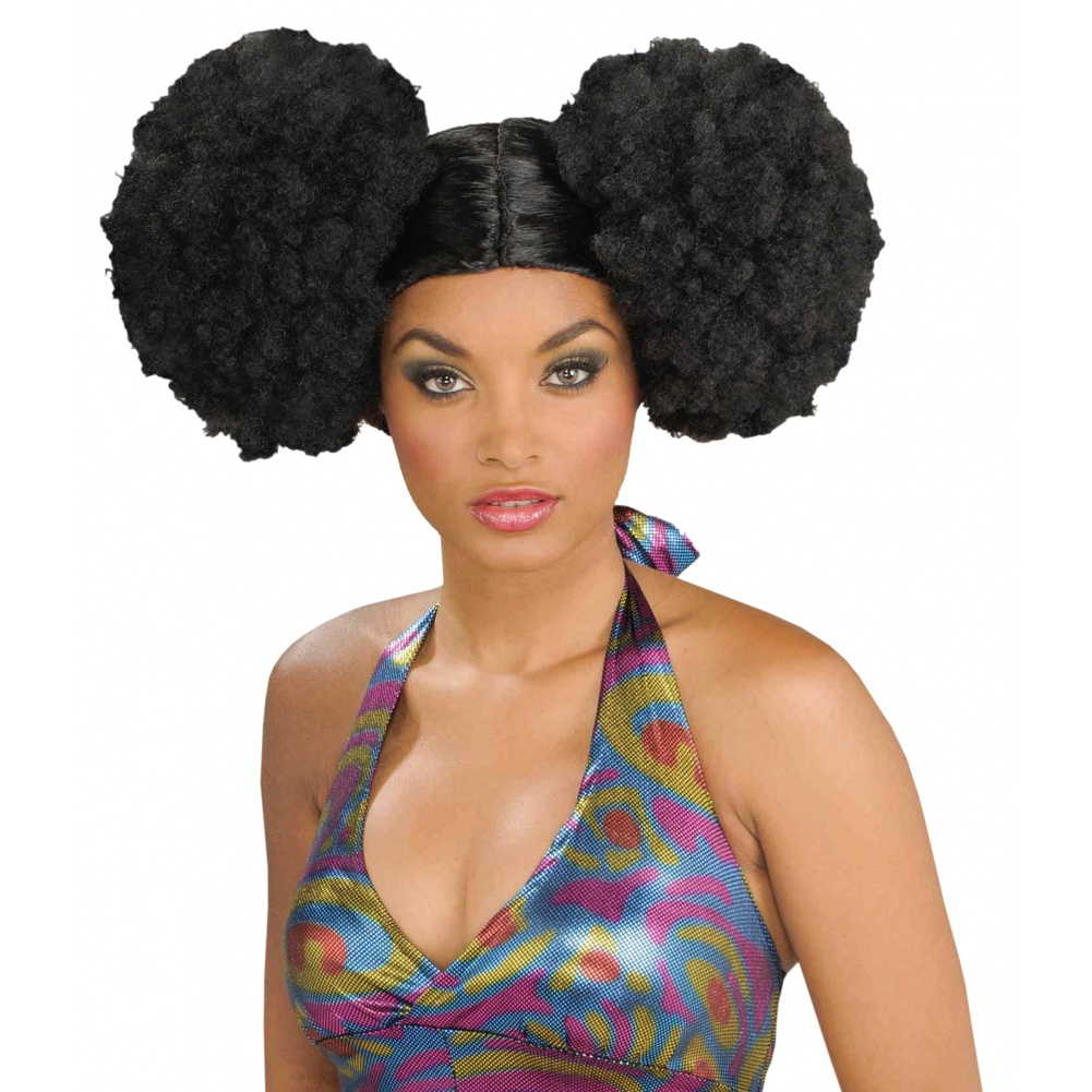 afro puff wig womens disco wig