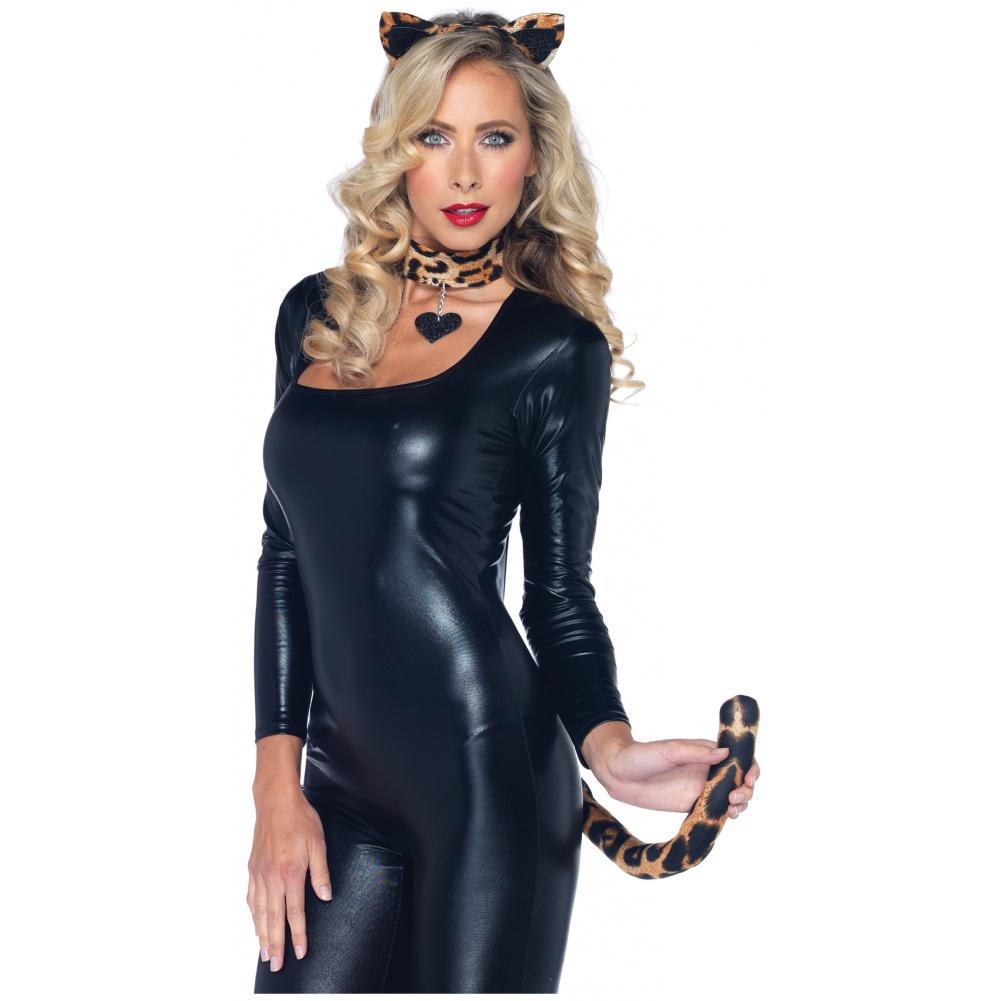 Lovely Leopard Kit Jungle Kitty Cougar Cat Ears Tail Choker Costume ... fc7d82e37