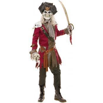 Captain Hook Scary Ghost Pirate Skeleton Costume image