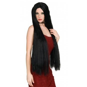 36 inch Long Black Witch Wig  Sorceress Vampire Hippie Cher Costume Accessory image