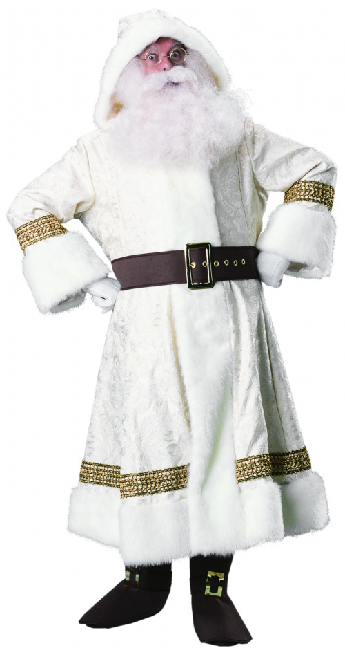 Old Time Santa Suit With Hood White European World Claus