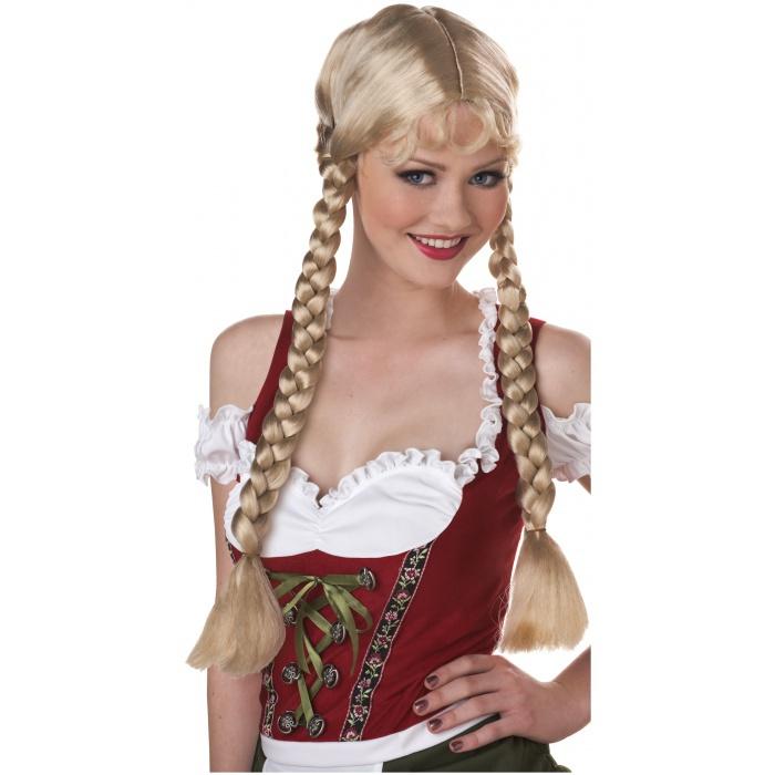 Classic Braids Blonde Wig German Beer Girl Heidi Costume