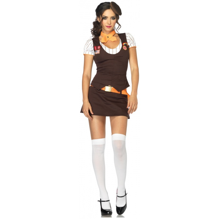 Cookie Scout Costume Adult Womens Brownie Girl Fancy Dress Product ...