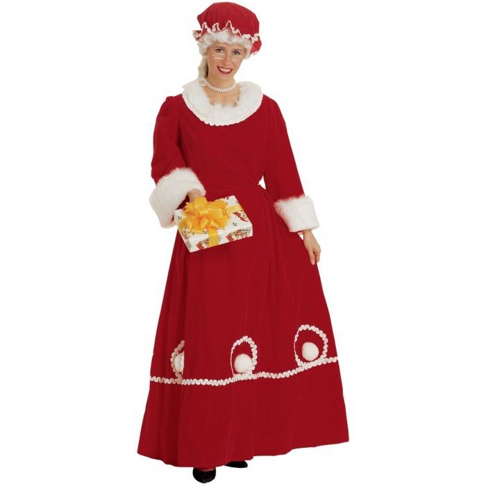 Mrs santa costume adult womens claus long red velvet dress product