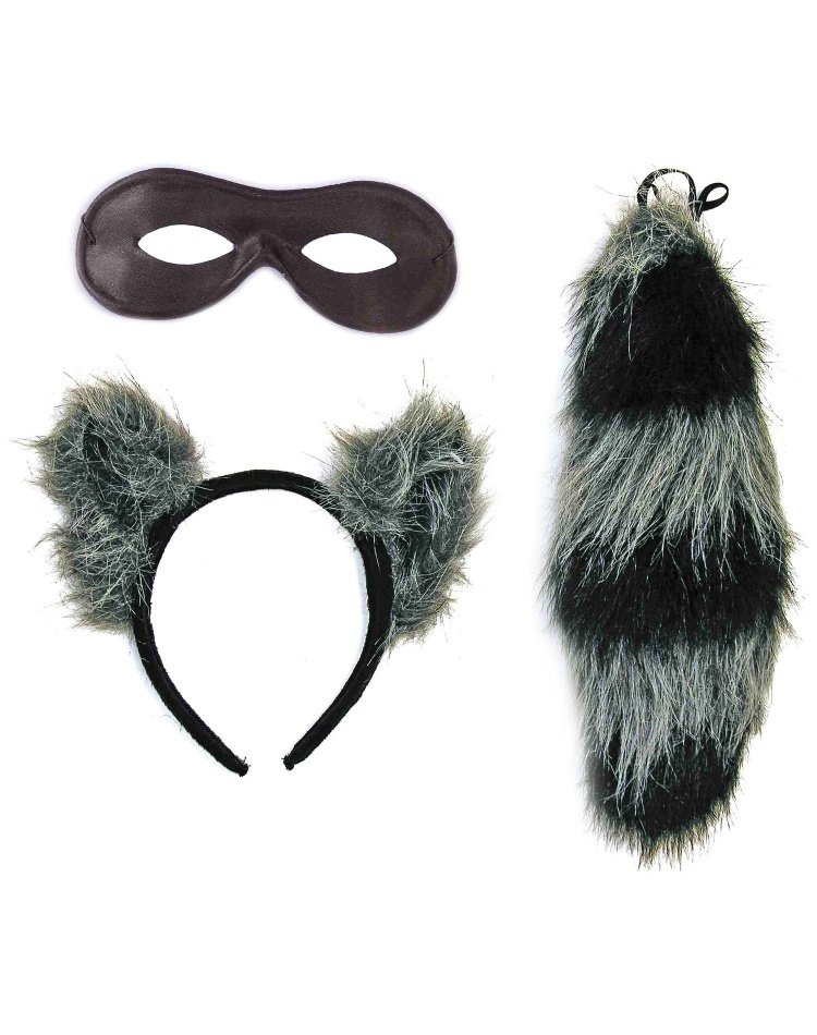 Raccoon Ears Tail And Mask Set Raccoon Costume Kit