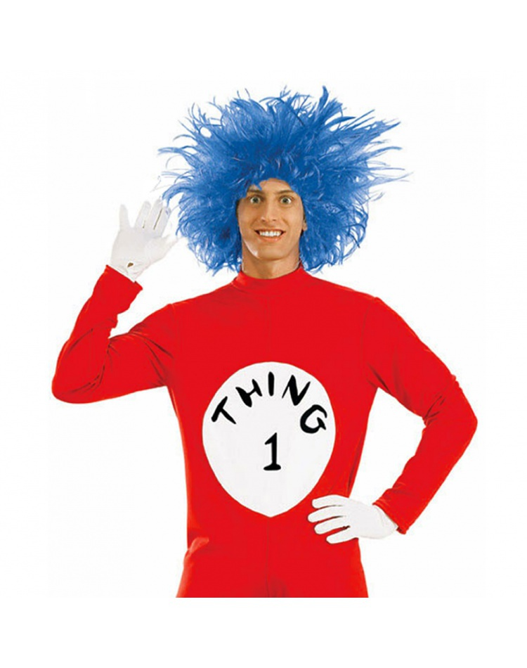 Thing 1 or Thing 2 Blue Wig Dr. Seuss Adult New Halloween Costume Accessory f93f2ee4bd